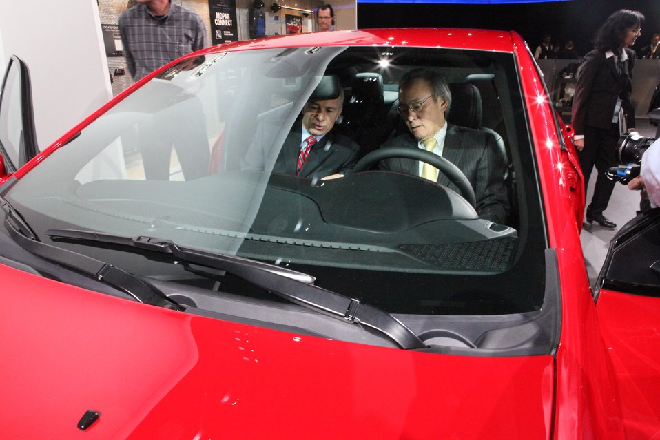 Energy Secretary Steven Chu inside the new 2013 Dodge Dart
