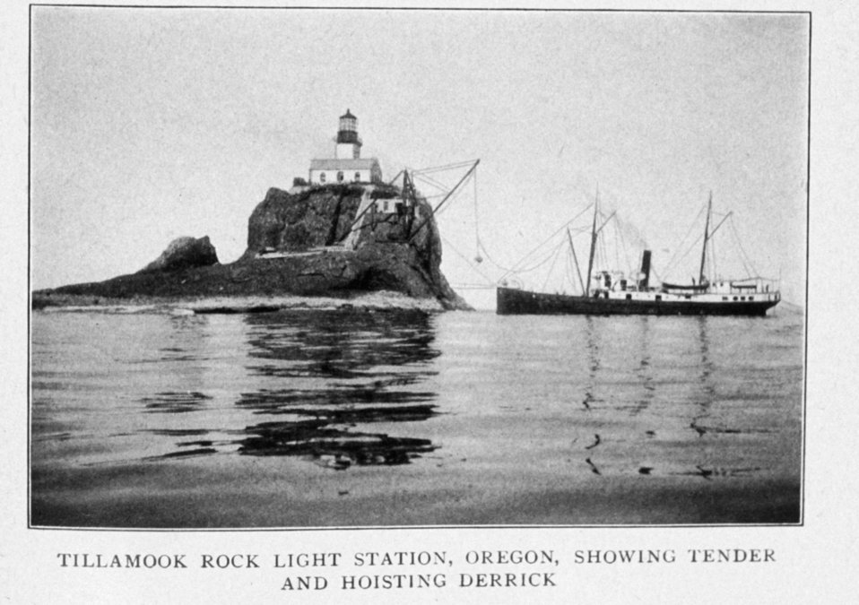 Tillamook Rock Light Station, Oregon, Showing Tender and Hoisting Derrick. In: 'Lighthouses and Lightships of the United States' by George R. Putnam, p. 130,  'Lighthouses and Lightships of the United States' by George R. Putnam, p. 130,  1917.  Houg