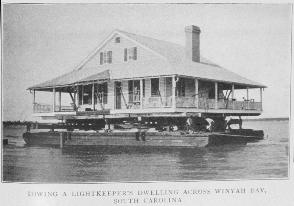 Towing a Lightkeeper's Dwelling across Winyah Bay, South Carolina.  In: 'Lighthouses and Lightships of the United States' by George R. Putnam, p. 96,  1917.  Houghton Mifflin and Company, Boston. Library Call No. 527.7 P98.