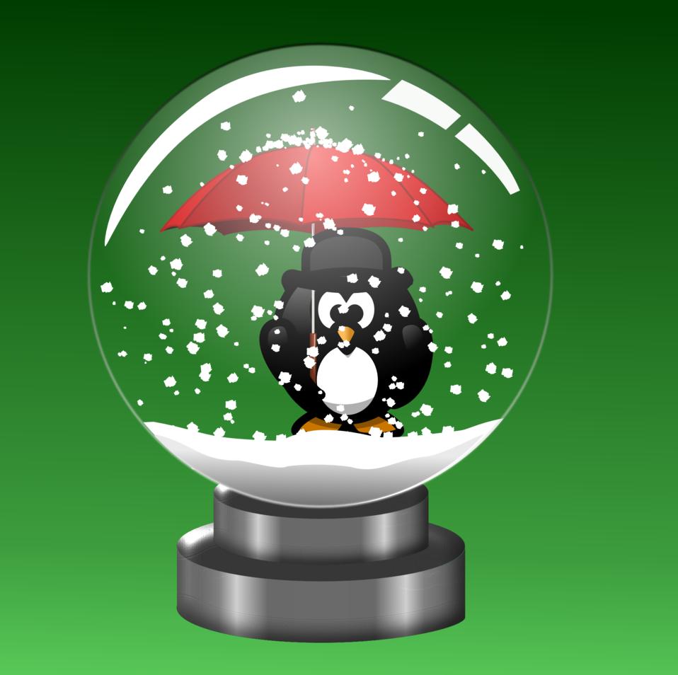 Snow Globe -Penguin with Umbrella