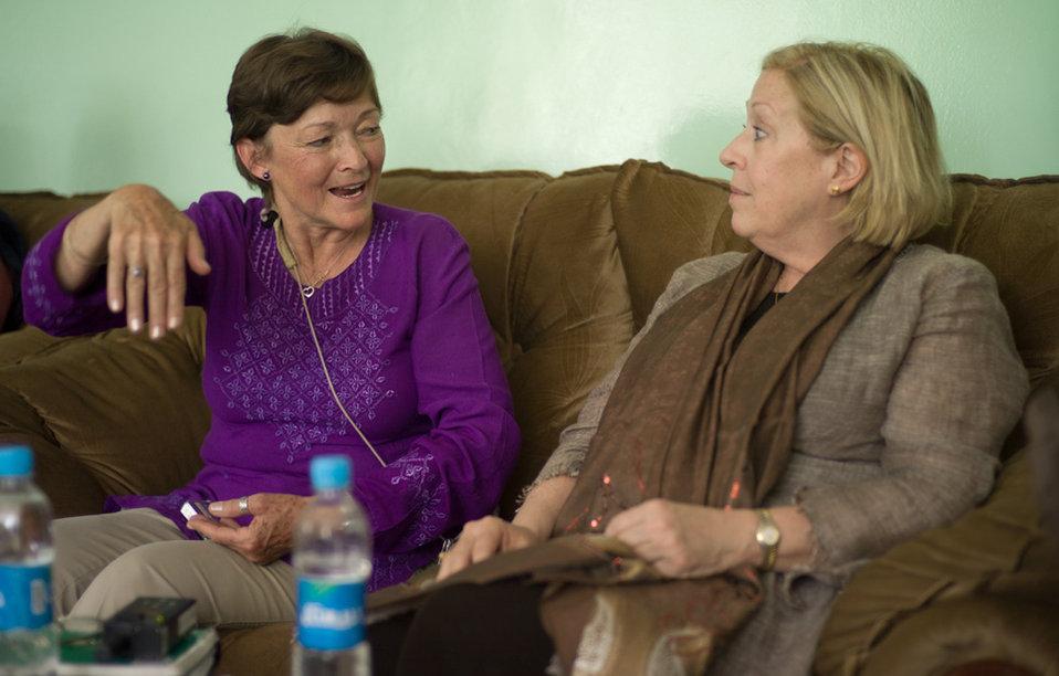 Nancy telling Carol a story