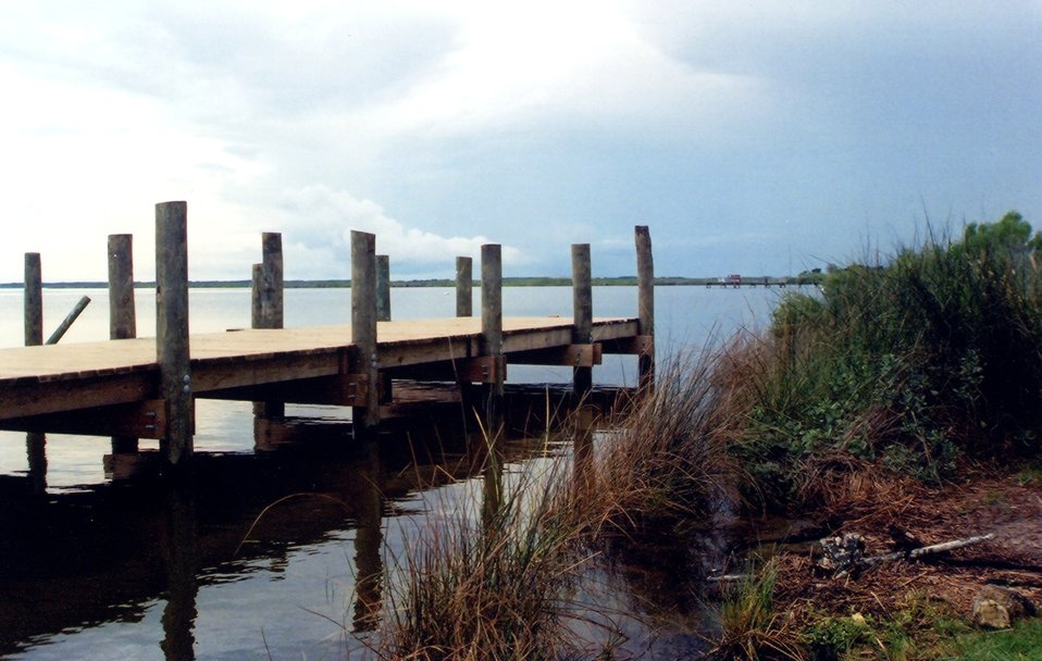 A pier on the Albemarle Sound side of the outer banks.