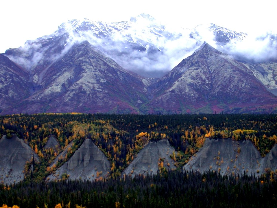 Remarkable fall colors. An outstanding example of triangular facets along a fault up-lifted mountain range.