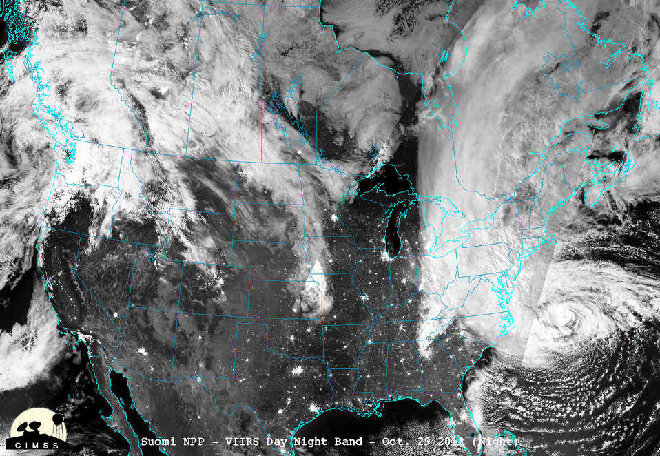 November 2, 2012: Satellite View of Sandy at Night