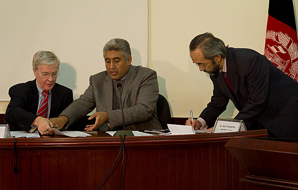 Ambassador Crocker, Minister  Ken signing