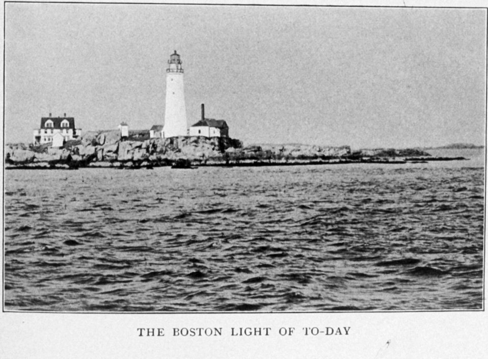 The Boston Light of Today (1917).  In: 'Lighthouses and Lightships of the United States' by George R. Putnam, p. 6,  1917.  Houghton Mifflin and Company, Boston. Library Call No. 527.7 P98.