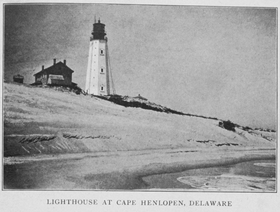 Lighthouse at Cape Henlopen, Delaware. In: 'Lighthouses and Lightships of the United States' by George R. Putnam, p. 14,  1917.  Houghton Mifflin and Company, Boston. Library Call No. 527.7 P98.