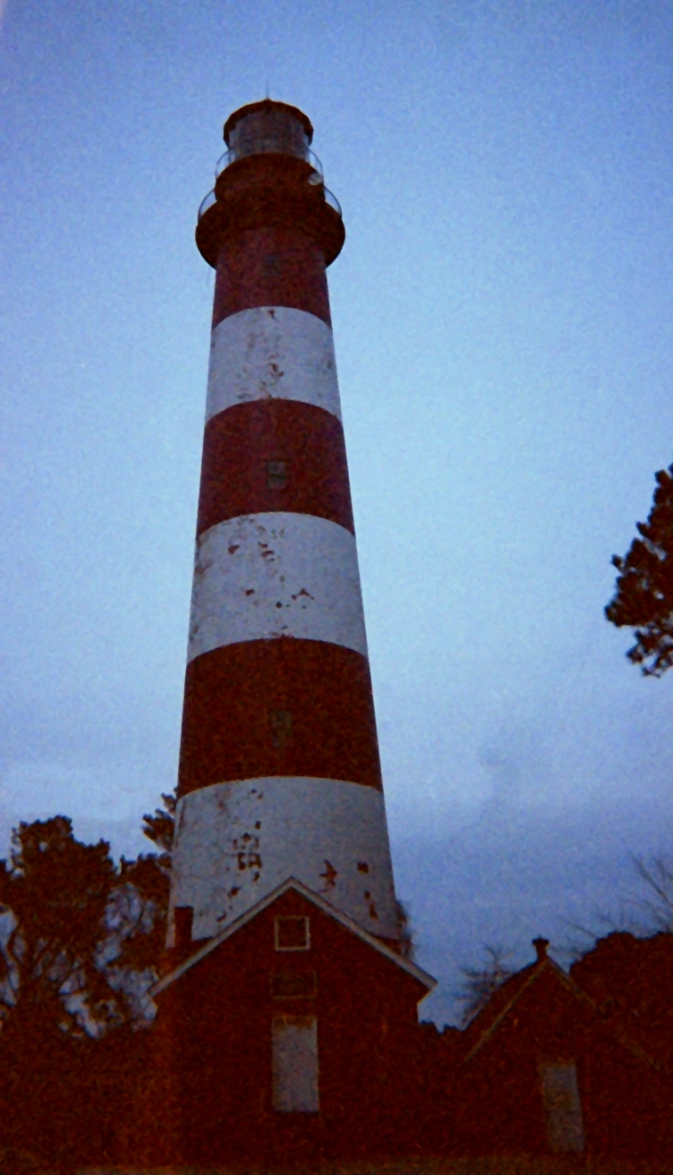 Assateague Lighthouse at dusk.