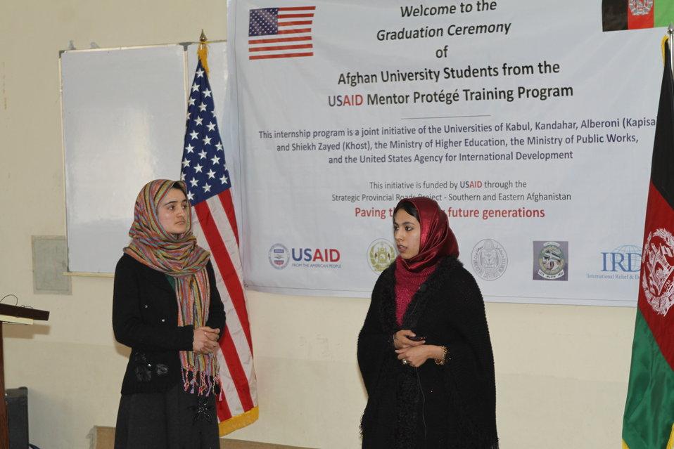 Female University Students Complete Internship