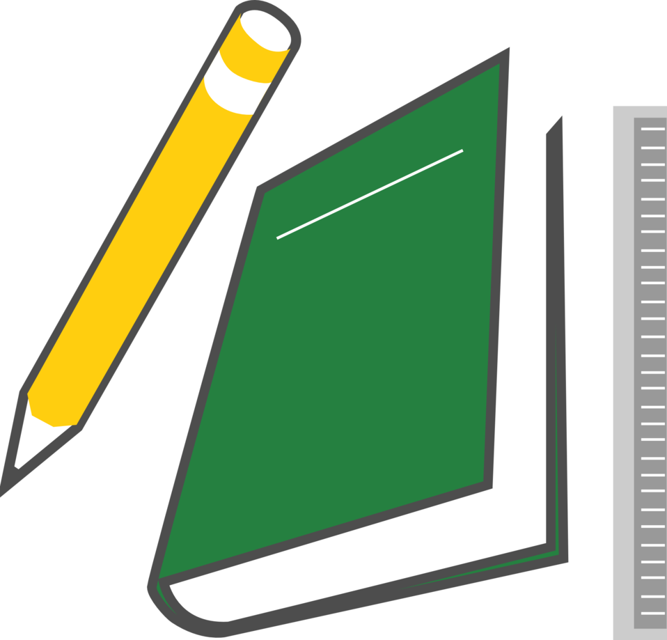 Illustration of a book and pencil