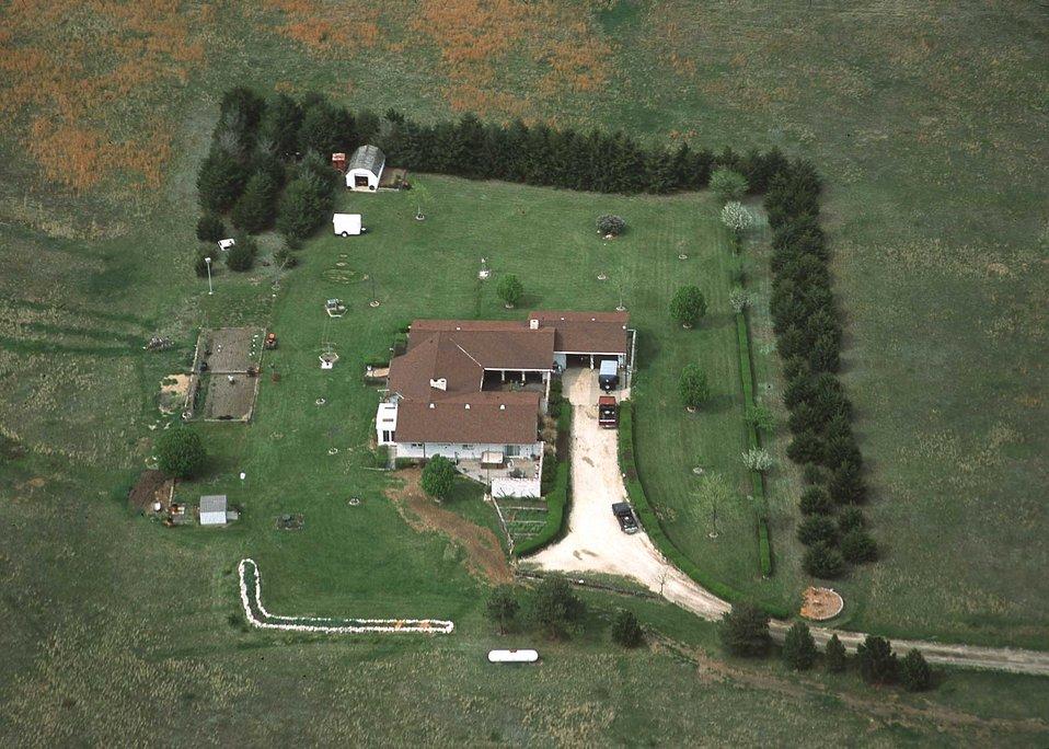 Aerial view of farmstead windbreaks. Kansas.