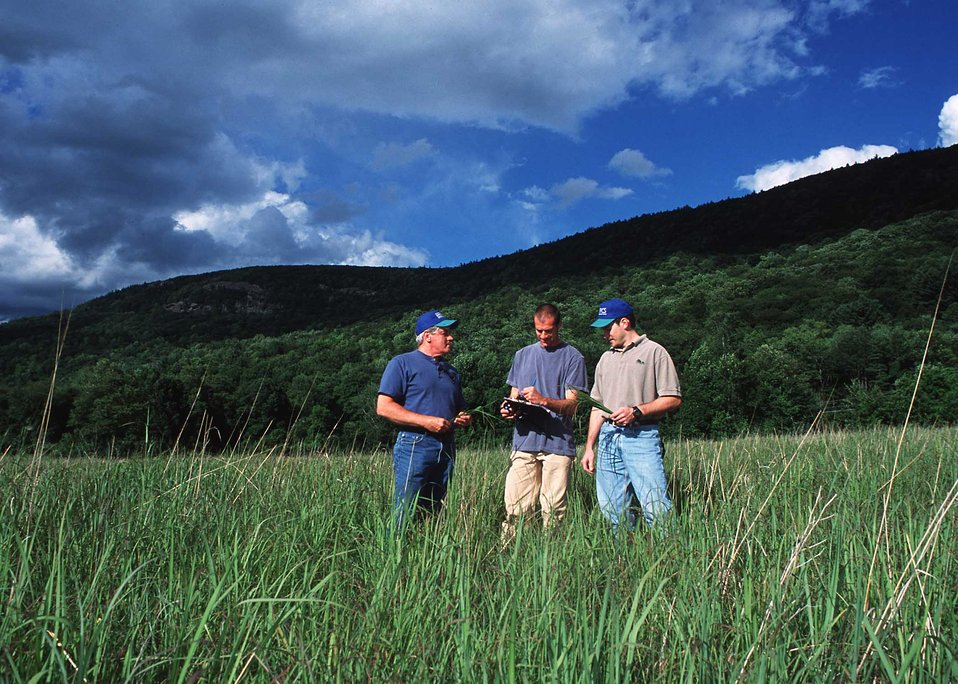 NRCS Soil Conservationist, Todd Bobowick and Alan Page reviewing a warm season grassland management plan with a Litchfield County landowner.