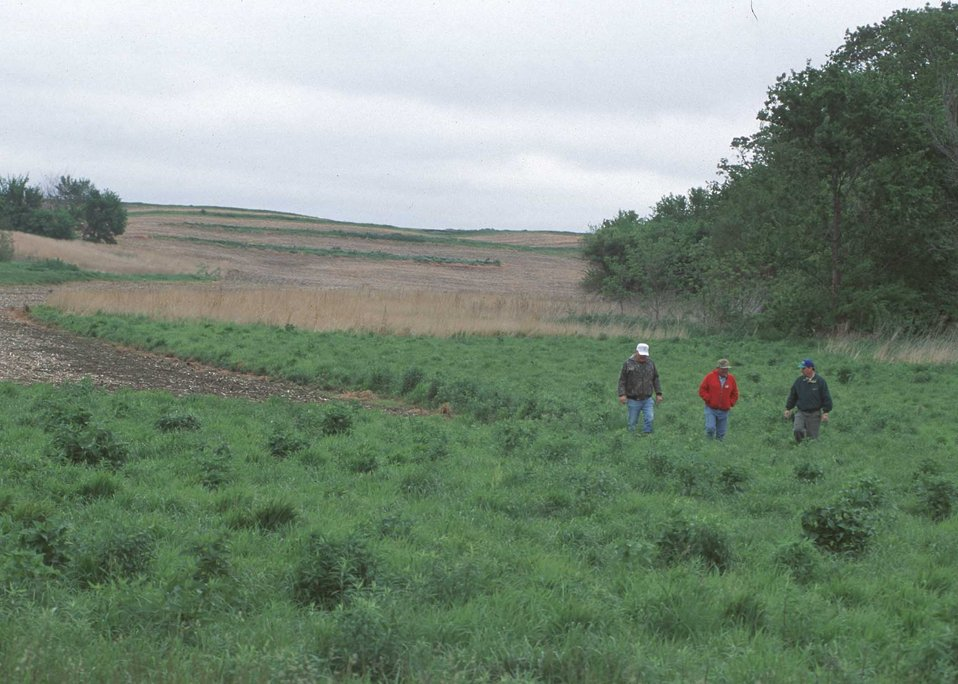 NRCS walks with the landowners on their family farm in Peoria County, Illinois. Many conservation practices have been installed on the farm