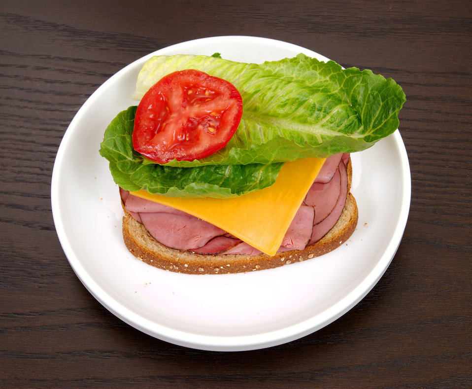 Choices not only involve which foods you eat, but how much as well. Note that this ham and cheese sandwich is made with attention to quantit