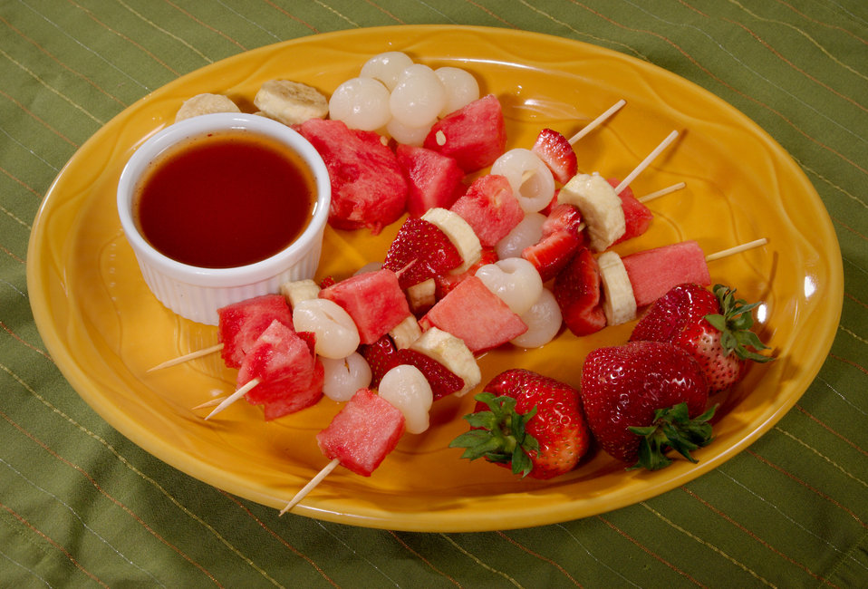 This platter featured a wonderfully healthy selection of fruits arranged on kabobs, which included watermelon, strawberries, lychees, and ba