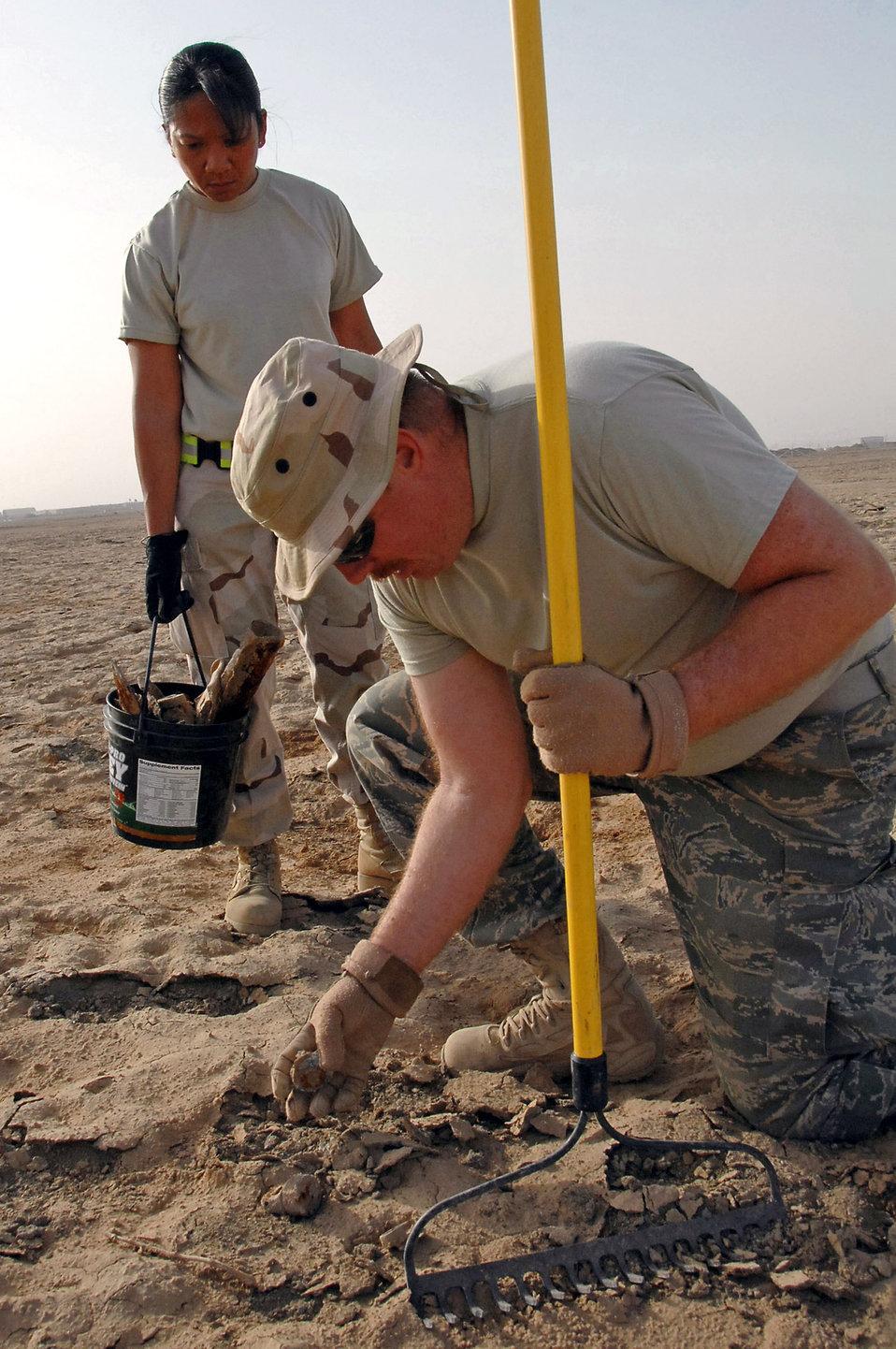 Picking up ordnance debris