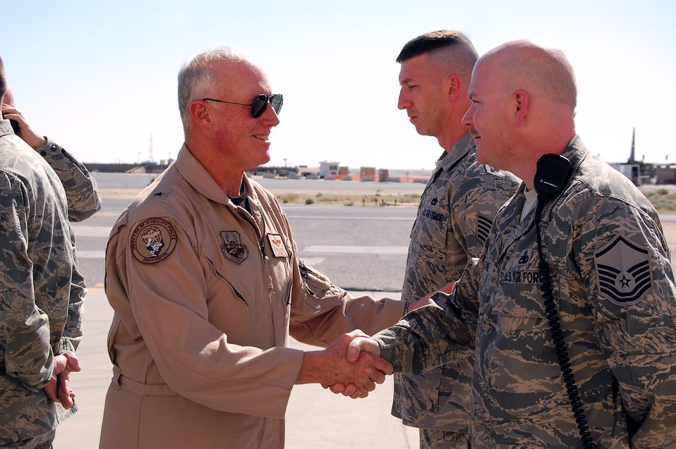 Air Forces Central general visits deployed Airmen