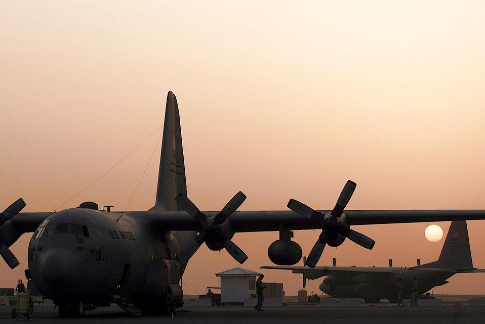 Sunset on the flightline