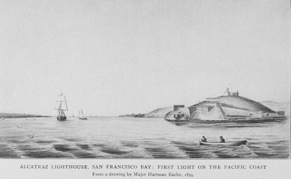 Alcatraz Lighthouse, San Francisco Bay: First Light on the Pacific Coast.  From a drawing by Major Hartman Bache, 1859.  In: 'Lighthouses and Lightships of the United States' by George R. Putnam, p. 110,  1917.  Houghton Mifflin and Company, Boston. Li