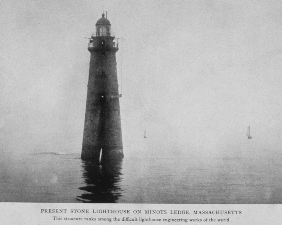 Present Stone Lighthouse on Minots Ledge, Massachusetts.  This structure ranks among the difficult lighthouse engineering works of the world. In: 'Lighthouses and Lightships of the United States' by George R. Putnam, p. 76,  1917.  Houghton Mifflin and