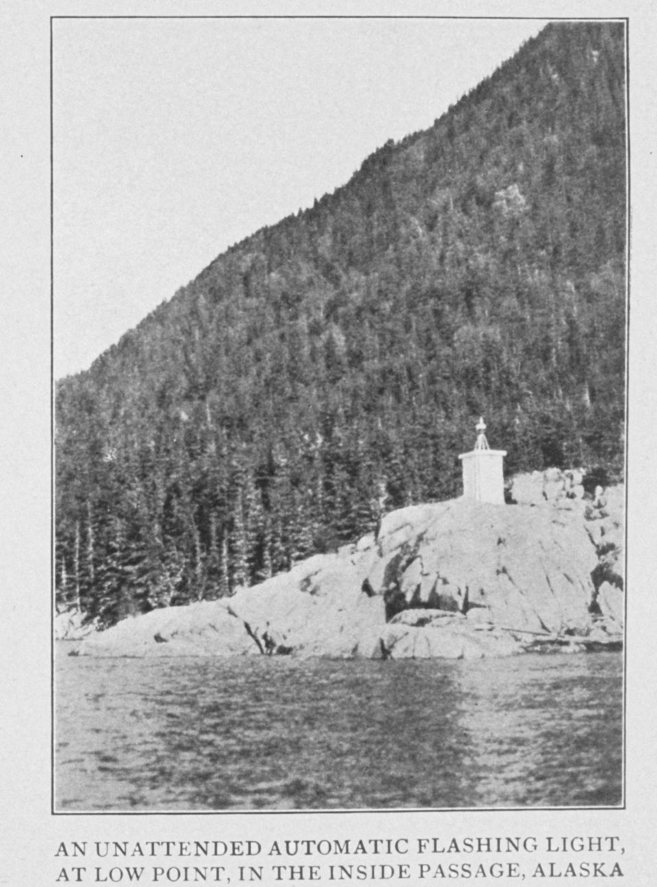 An Unattended Automatic Flashing Light, at Low Point, in the Inside Passage, Alaska. In: 'Lighthouses and Lightships of the United States' by George  R. Putnam, p. 148,  1917.  Houghton Mifflin and Company, Boston. Library Call No. 527.7 P98.