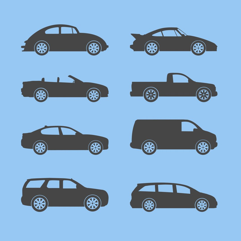 Vehicle silhouettes icons