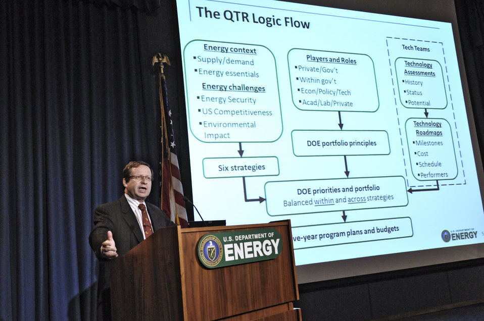 Dr. Steve Koonin releases the results of the the Department of Energy's Quadrennial Technology Review. Energy Department Image | Photo by Ch