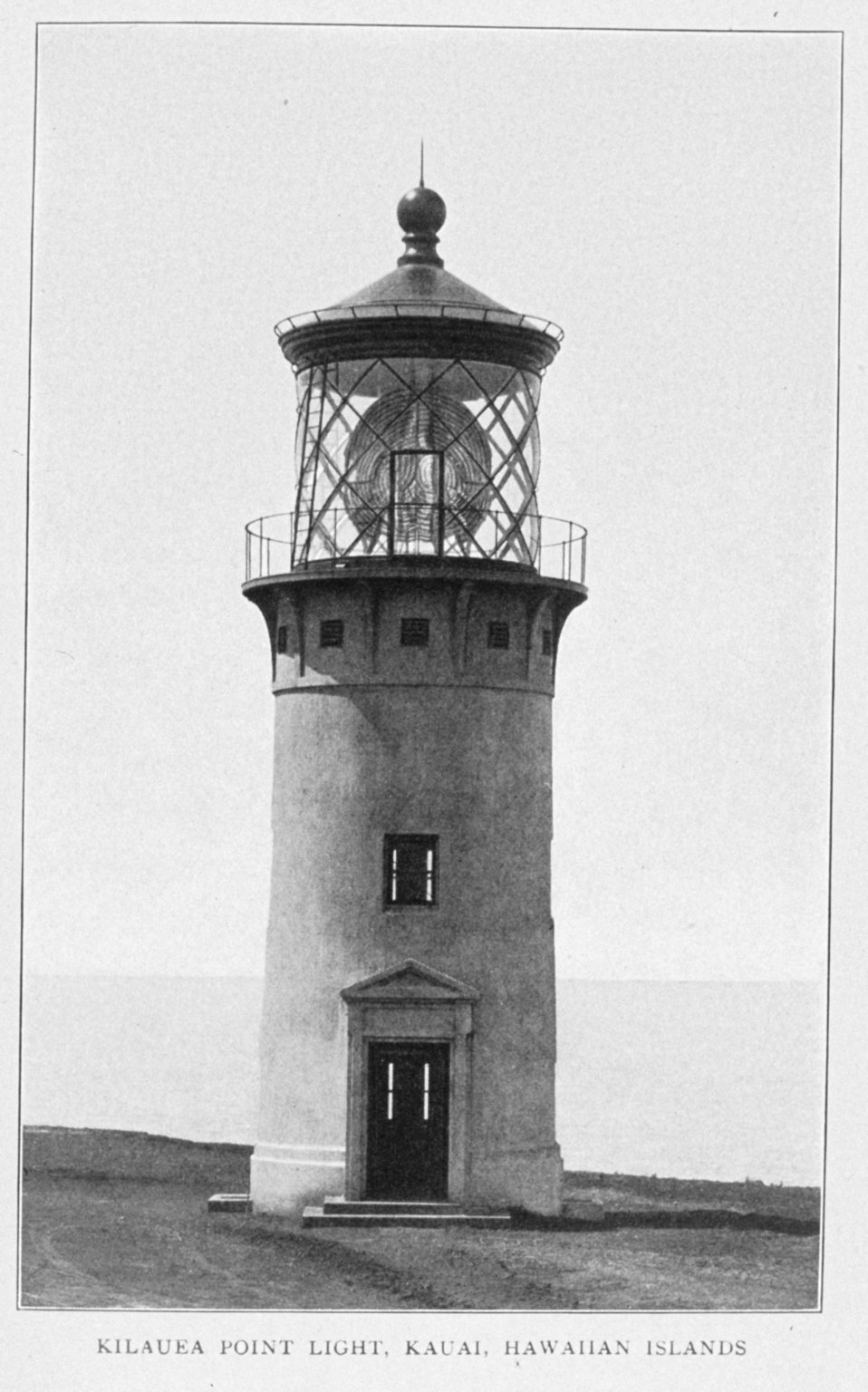 Kilauea Point Light, Kauai, Hawaiian Islands. In: 'Lighthouses and Lightships of the United States' by George R. Putnam, p. 170,  1917.  Houghton Mifflin and Company, Boston.Library Call No. 527.7 P98.