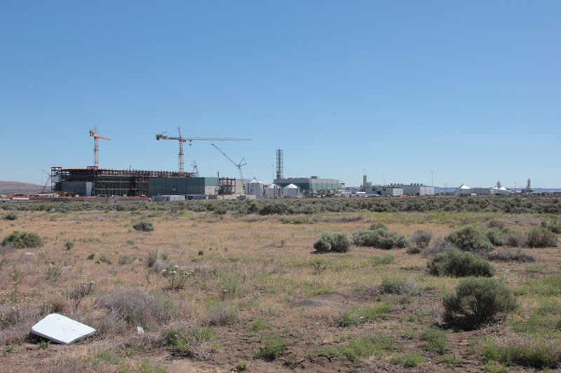 Desert landscape surrounds the Waste Treatment Plant