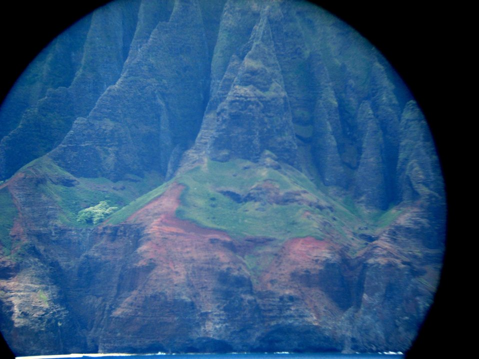 A telescopic view from offshore of the Na Pali coastline.