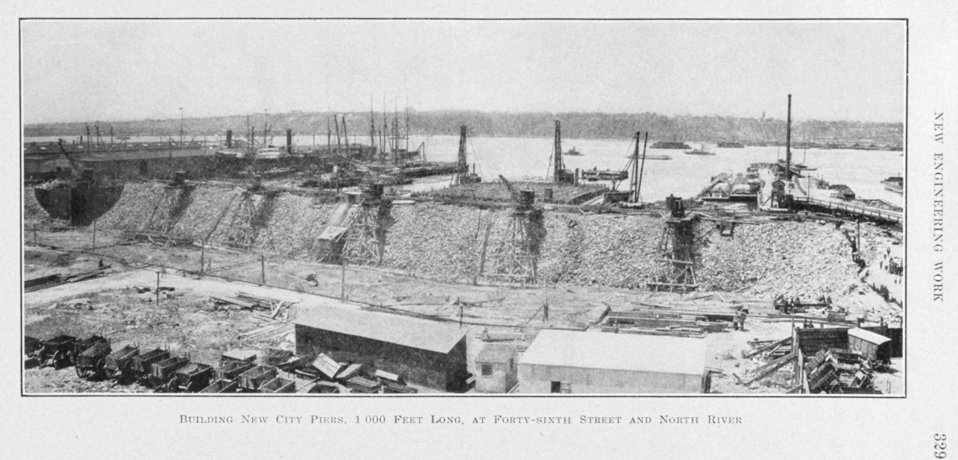 Building new city piers, 1,000 feet long, at Forty-ninth Street and North River. In:  The Municipal Engineers Journal, Vol. 1, No. 5, November 1915.   Library Call No. M 1270 F 419.