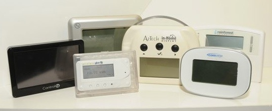 Various in-home energy monitors used in CenterPoint's Smart Grid project