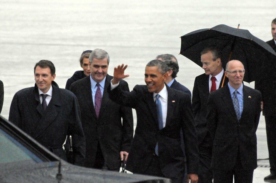President Obama Arrives in Belgium