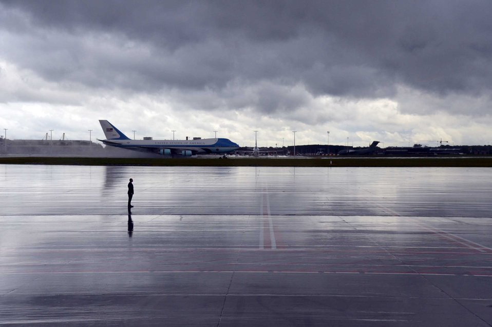 Air Force One Touches Down in Belgium