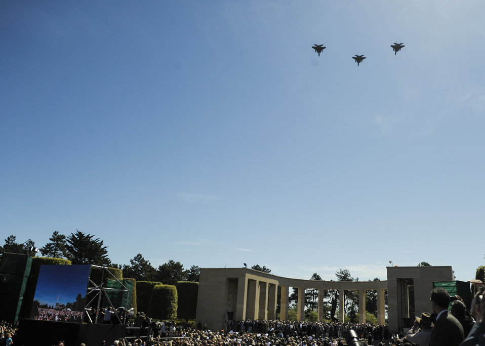 F-15 Eagles Do a Flyover During 70th D-Day Anniversary Commemoration