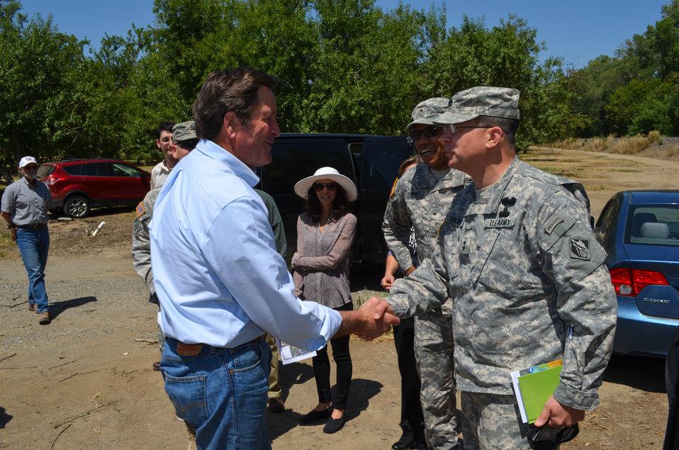 Maj. Gen. John Peabody greets U.S. Rep. John Garamendi