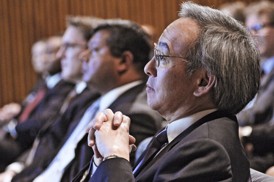 Energy Secretary Steven Chu looks on as Dr. Steve Koonin presents the results for the Quadrennial Technology Review. Energy Department Image