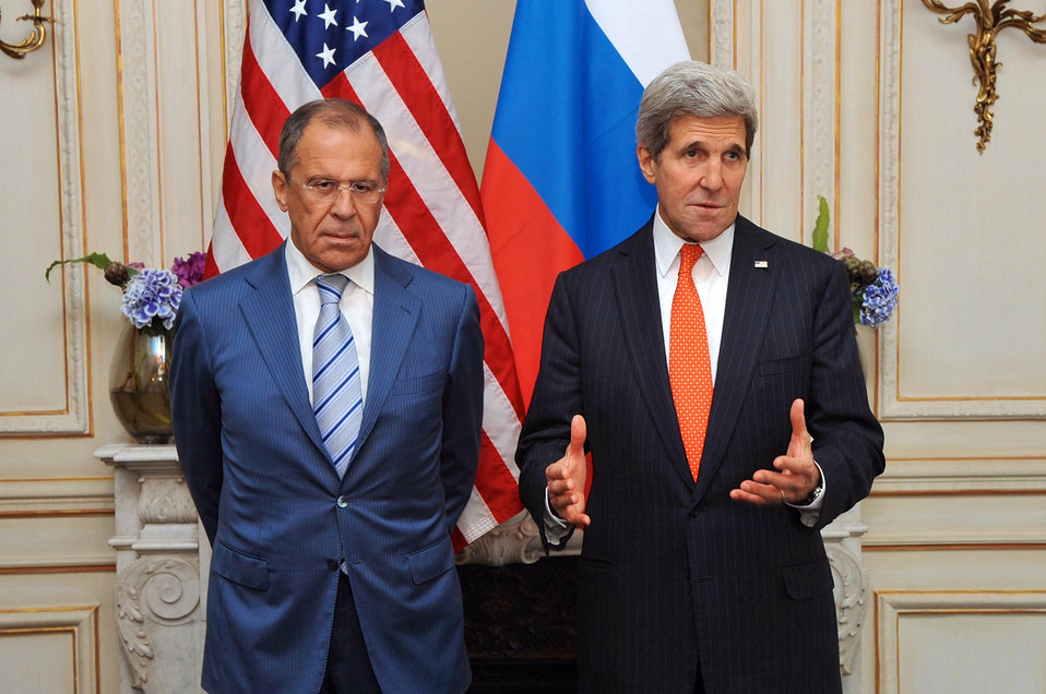 Secretary Kerry Addresses Press Before Meeting With Russian Foreign Minister Lavrov in Paris