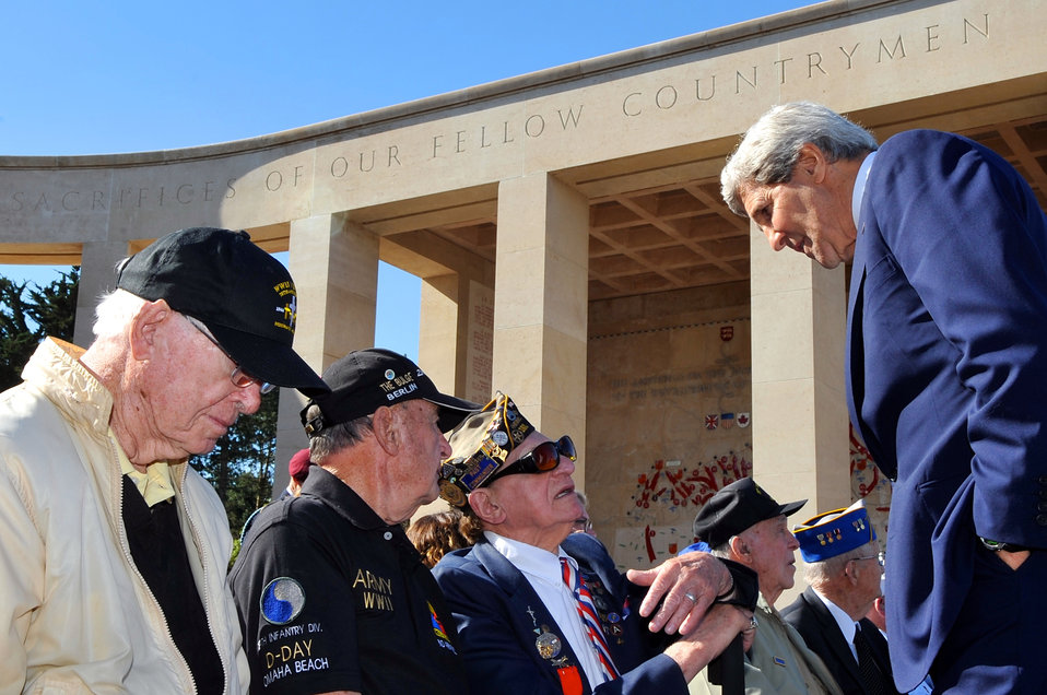 Secretary Kerry Listens as D-Day Veteran Describes Normandy Landing