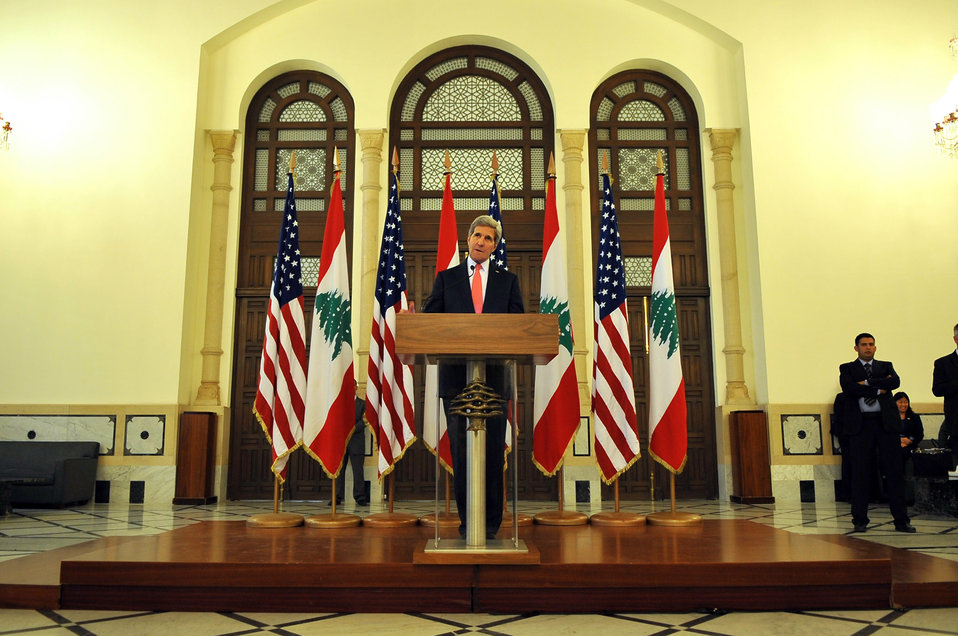 Secretary Kerry Holds News Conference at Lebanese Prime Minister's Office