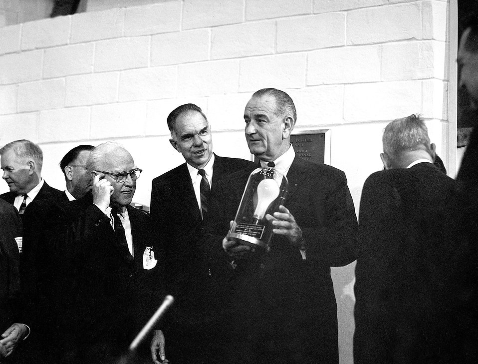 President Lyndon B. Johnson and the first Lightbulb.