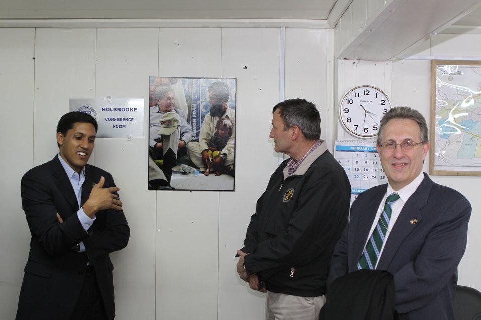 Administrator Shah, Ambassador Eikenberry, and Ambassador Wayne