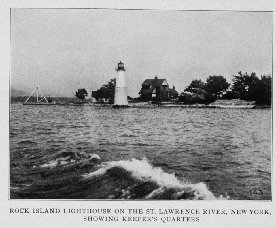 Rock Island Lighthouse on the St. Lawrence River, New York, Showing the Keeper's  Quarters.  In: 'Lighthouses and Lightships of the United States' by George R. Putnam,  p. 250,  1917.  Houghton Mifflin and Company, Boston. Library Call No. 527.7 P98.