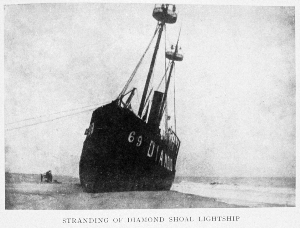 Stranding of Diamond Shoal Lightship. Near Cape Hatteras. In: 'Lighthouses and Lightships of the United States' by George R. Putnam, p. 96,  1917.  Houghton Mifflin and Company, Boston. Library Call No. 527.7 P98.