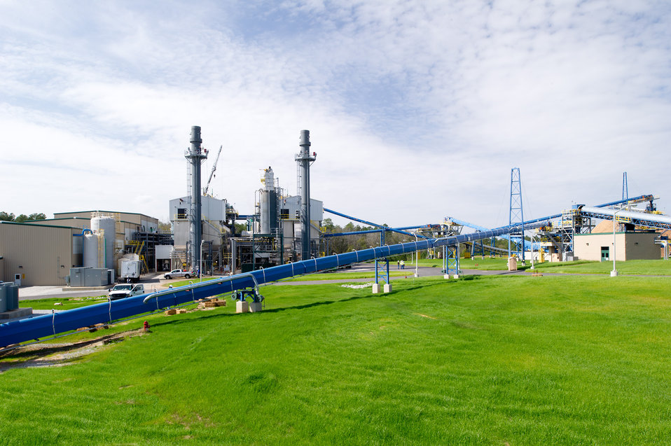 Biomass being processed at the Savannah River Site