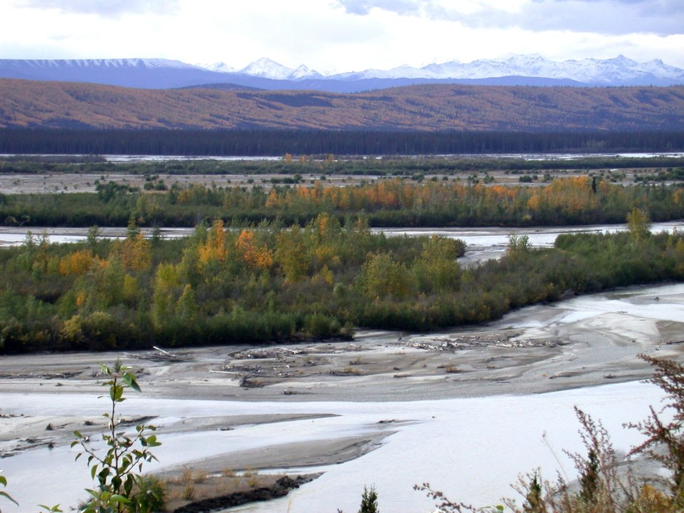 Looking across Susitna River to the high mountains of the Alaska Range north of Anchorage.