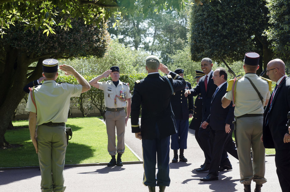 President Obama and French President Hollande Arrive at the Normandy American Cemetery