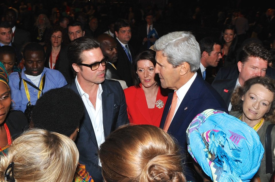 Actor Pitt, Secretary Kerry Chat at Conclusion of 2014 Global Summit to End Sexual Violence in Conflict