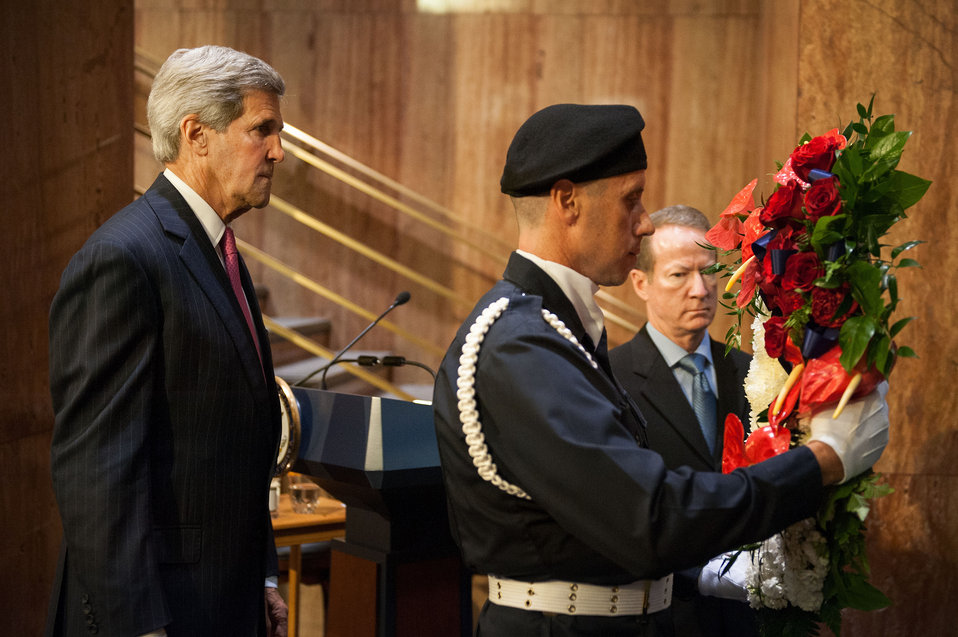 Secretary Kerry Participates in the Dedication of the Bureau of International Narcotics and Law Enforcement Affairs Memorial Wall Ceremony