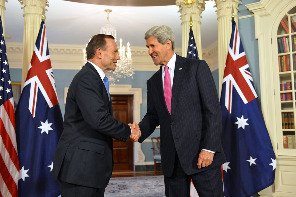 Secretary Kerry Shakes Hands With Australian Prime Minister Abbott